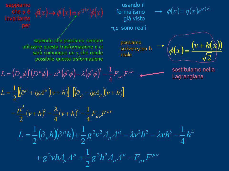 sappiamo che è invariante per usando il formalismo già visto, sono reali possiamo scrivere,con h reale sapendo che possiamo sempre utilizzare questa t