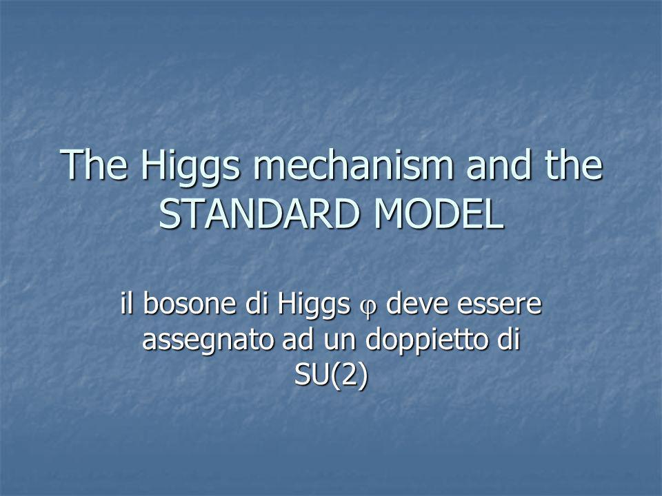 The Higgs mechanism and the STANDARD MODEL il bosone di Higgs deve essere assegnato ad un doppietto di SU(2)