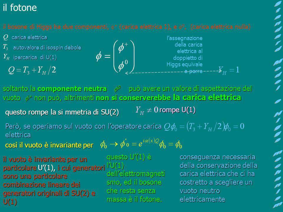 il bosone di Higgs ha due componenti, + (carica elettrica 1), e 0, (carica elettrica nulla) carica elettrica autovalore di isospin debole autovalore d