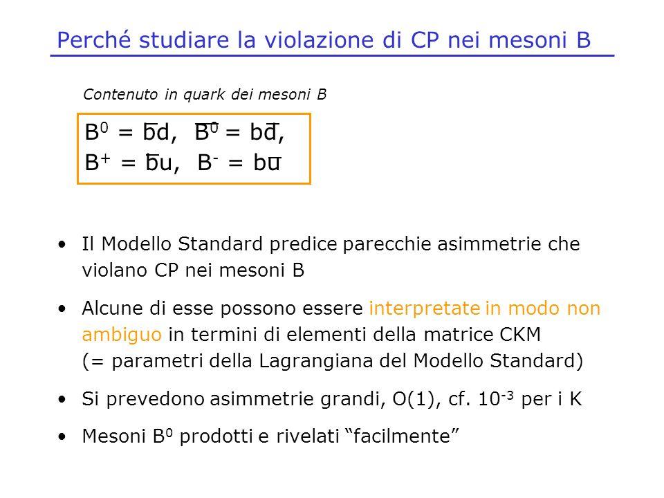 Perché studiare la violazione di CP nei mesoni B Il Modello Standard predice parecchie asimmetrie che violano CP nei mesoni B Alcune di esse possono e