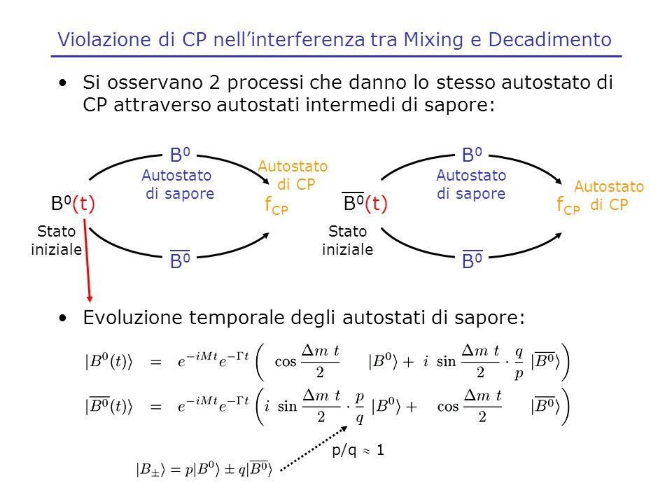 Violazione di CP nellinterferenza tra Mixing e Decadimento Si osservano 2 processi che danno lo stesso autostato di CP attraverso autostati intermedi