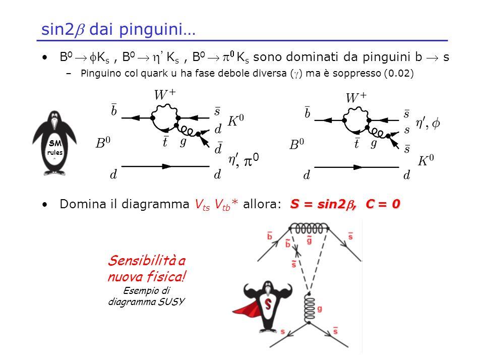 sin2 dai pinguini… B 0 K s, B 0 K s, B 0 K s sono dominati da pinguini b s –Pinguino col quark u ha fase debole diversa () ma è soppresso (0.02) S = s