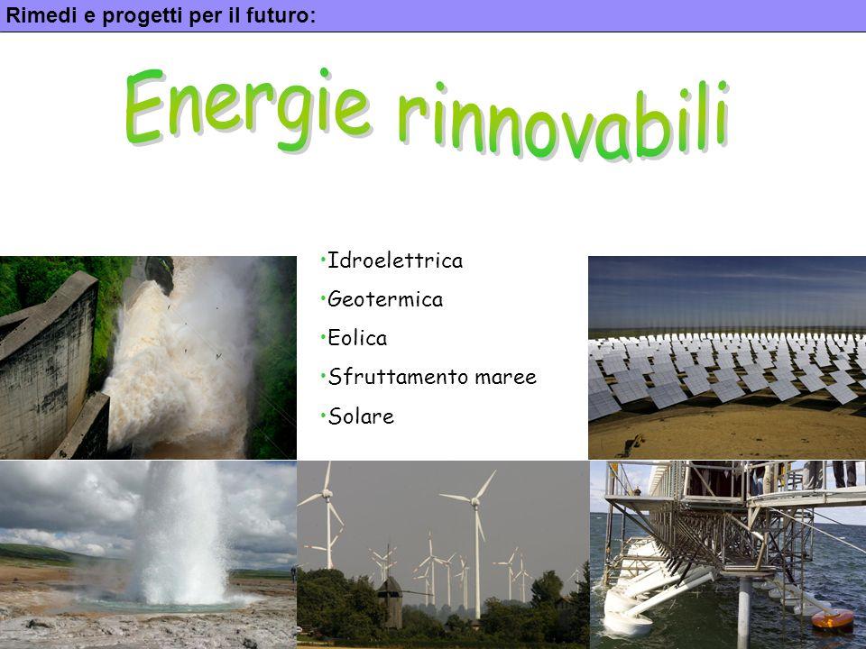 16 Rimedi e progetti per il futuro: Idroelettrica Geotermica Eolica Sfruttamento maree Solare