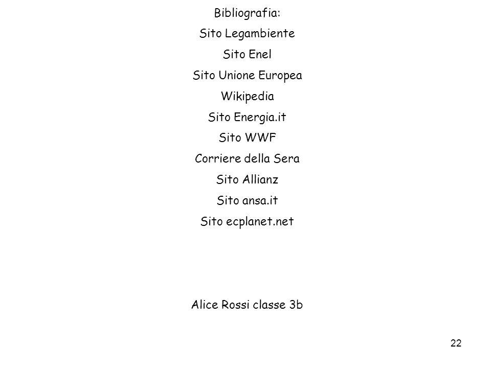 22 Bibliografia: Sito Legambiente Sito Enel Sito Unione Europea Wikipedia Sito Energia.it Sito WWF Corriere della Sera Sito Allianz Sito ansa.it Sito
