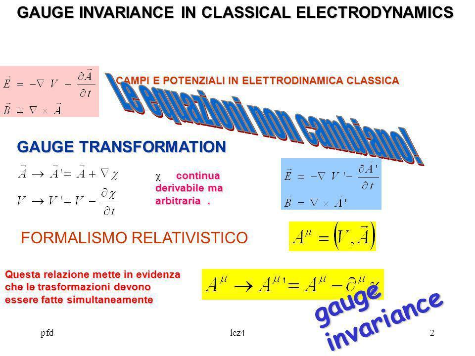 pfdlez42 GAUGE INVARIANCE IN CLASSICAL ELECTRODYNAMICS CAMPI E POTENZIALI IN ELETTRODINAMICA CLASSICA continua derivabile ma arbitraria. continua deri