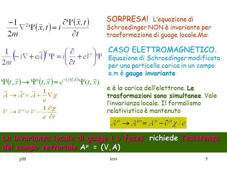 pfdlez45 SORPRESA! Lequazione di Schroedinger NON è invariante per trasformazione di guage locale.Ma: gauge invariante CASO ELETTROMAGNETICO. Equazion