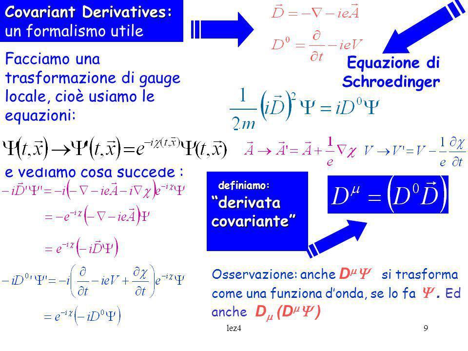 pfdlez49 Covariant Derivatives: Covariant Derivatives: un formalismo utile Equazione di Schroedinger e vediamo cosa succede : definiamo: derivata cova