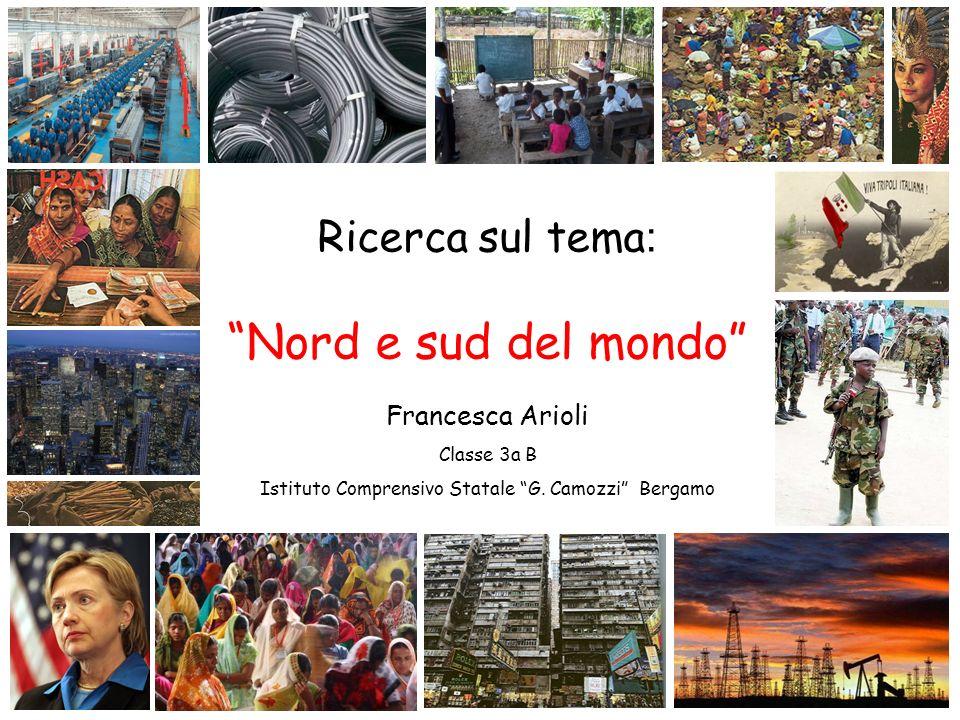 Ricerca sul tema : Nord e sud del mondo Francesca Arioli Classe 3a B Istituto Comprensivo Statale G. Camozzi Bergamo