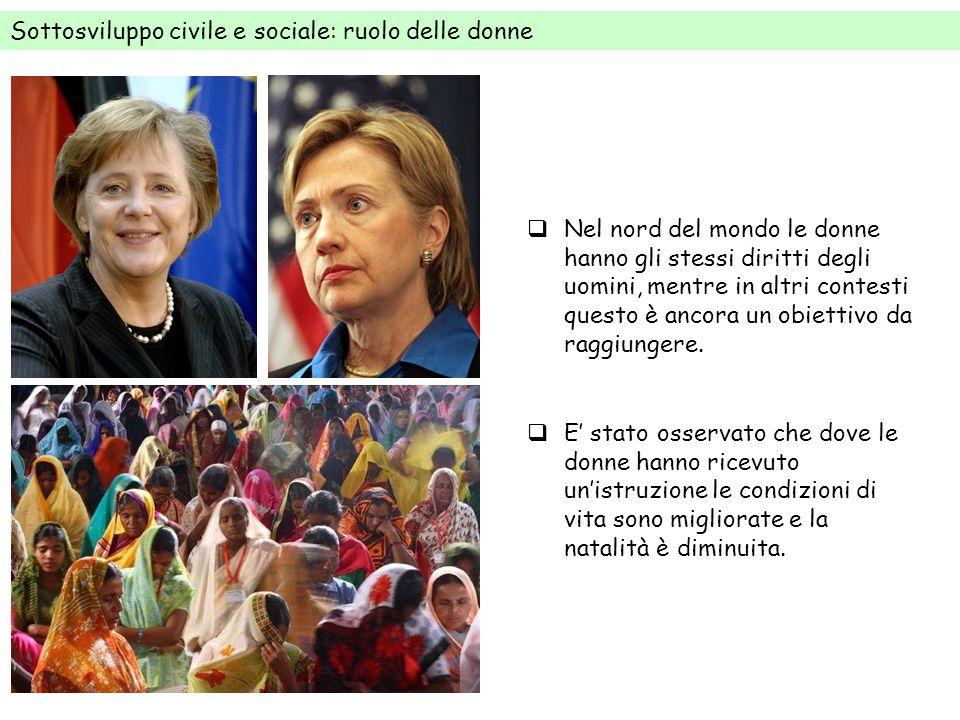 Sottosviluppo civile e sociale: ruolo delle donne Nel nord del mondo le donne hanno gli stessi diritti degli uomini, mentre in altri contesti questo è