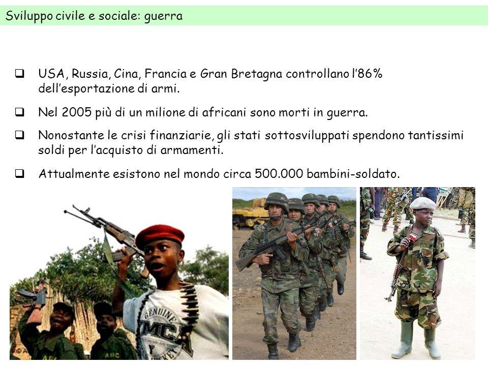 Sviluppo civile e sociale: guerra Nel 2005 più di un milione di africani sono morti in guerra. USA, Russia, Cina, Francia e Gran Bretagna controllano