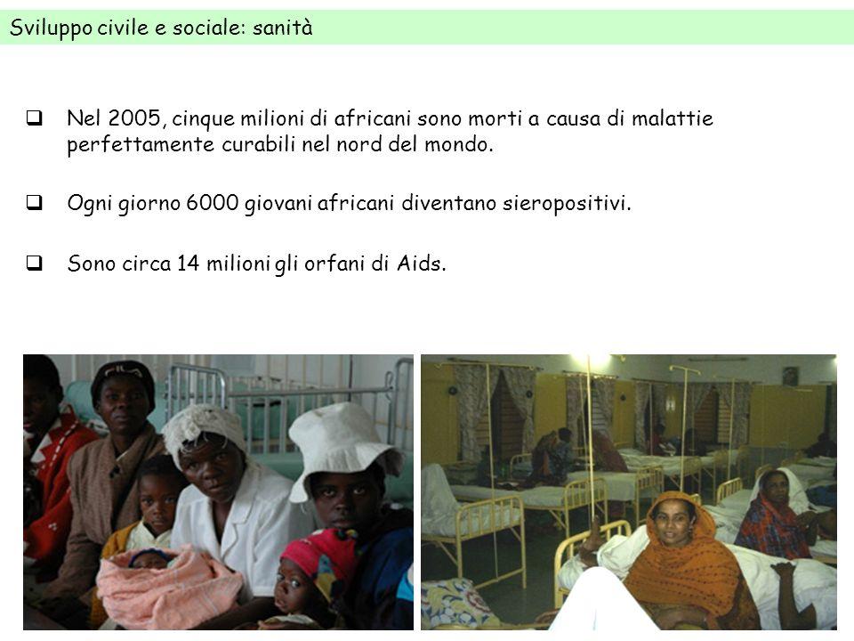 Sviluppo civile e sociale: sanità Nel 2005, cinque milioni di africani sono morti a causa di malattie perfettamente curabili nel nord del mondo. Ogni