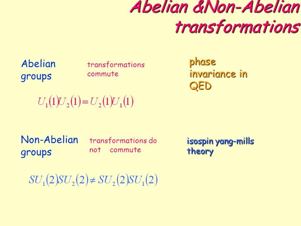 Non-Abelian Gauge Theories SPAZI INTERNI E INVARIANZA DI FASE p e n sono nello spazio interno di spin isotopico forte SU(2): trasformazione di fase per cui la variazione è espressa da un operatore nello spazio di spin isotopico Rotazione dallo stato N allo stato N n.b.: lordine delle rotazioni è importante, perche le rotazioni non commutano.
