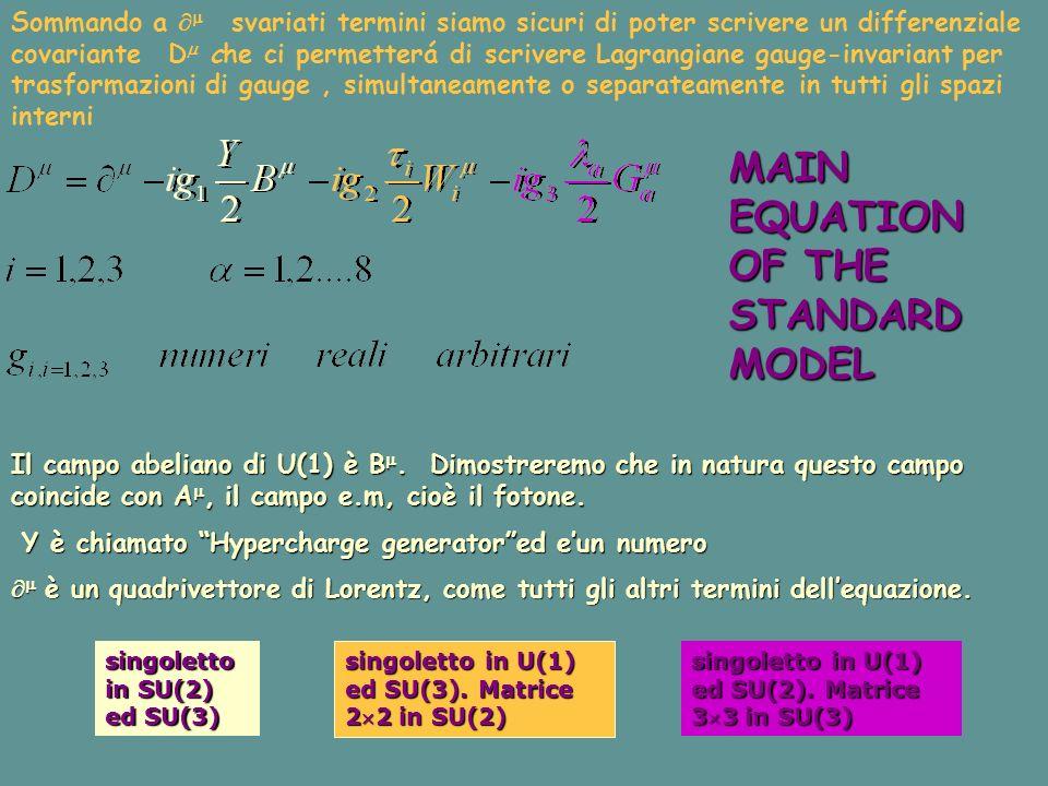 Sommando a svariati termini siamo sicuri di poter scrivere un differenziale covariante D che ci permetterá di scrivere Lagrangiane gauge-invariant per