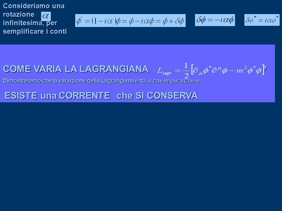 Consideriamo una rotazione infinitesima, per semplificare i conti COME VARIA LA LAGRANGIANA ? Dimostreremo che la variazione della Lagrangiana è =0, i