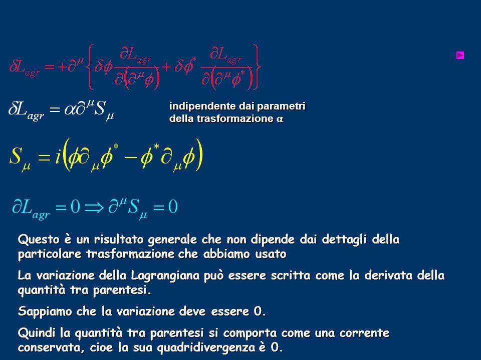 Questo è un risultato generale che non dipende dai dettagli della particolare trasformazione che abbiamo usato La variazione della Lagrangiana può ess