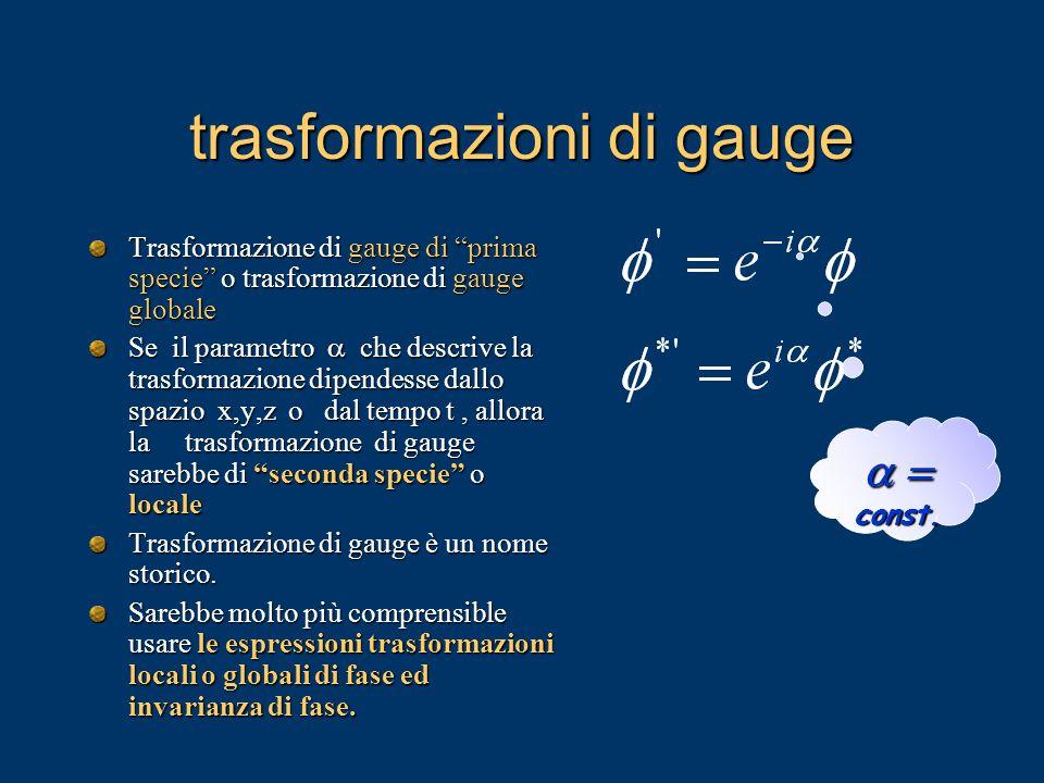 trasformazioni di gauge Trasformazione di gauge di prima specie o trasformazione di gauge globale Se il parametro che descrive la trasformazione dipen