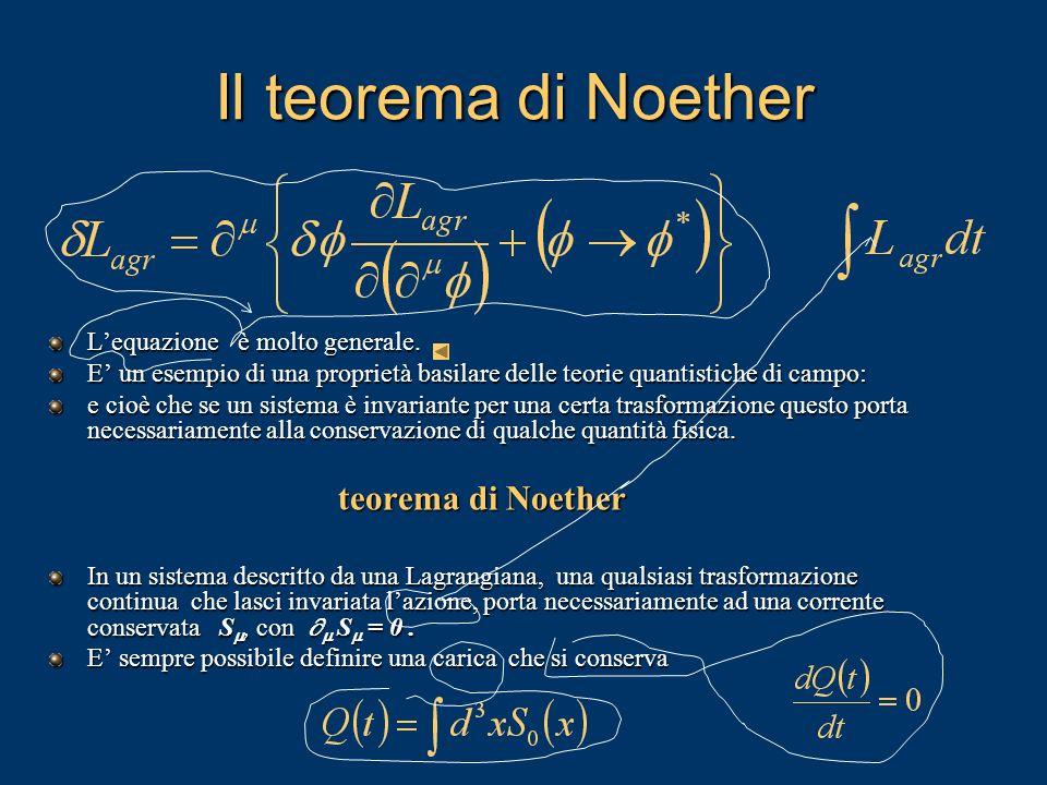Il teorema di Noether Lequazione è molto generale. E un esempio di una proprietà basilare delle teorie quantistiche di campo: e cioè che se un sistema