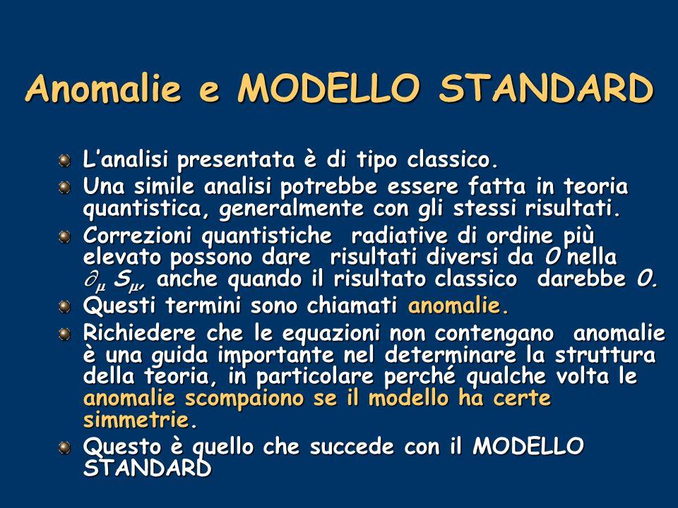 Anomalie e MODELLO STANDARD Lanalisi presentata è di tipo classico. Una simile analisi potrebbe essere fatta in teoria quantistica, generalmente con g