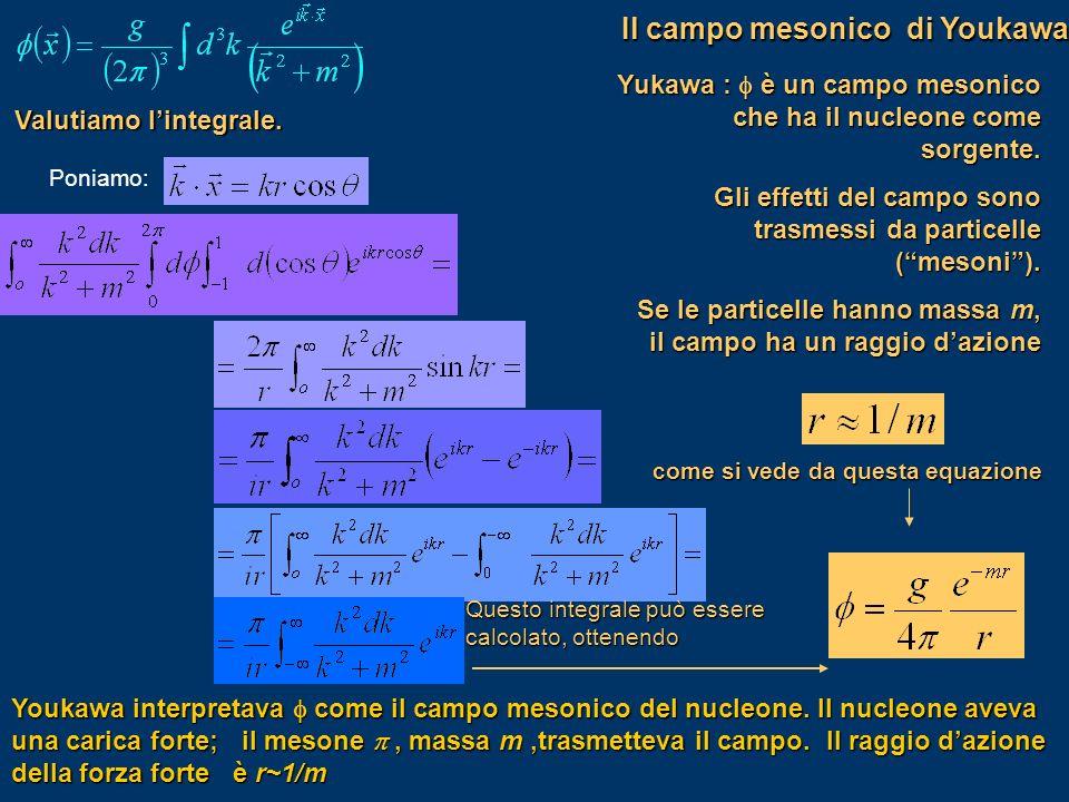 Valutiamo lintegrale. Poniamo: Questo integrale può essere calcolato, ottenendo Yukawa : è un campo mesonico che ha il nucleone come sorgente. Gli eff