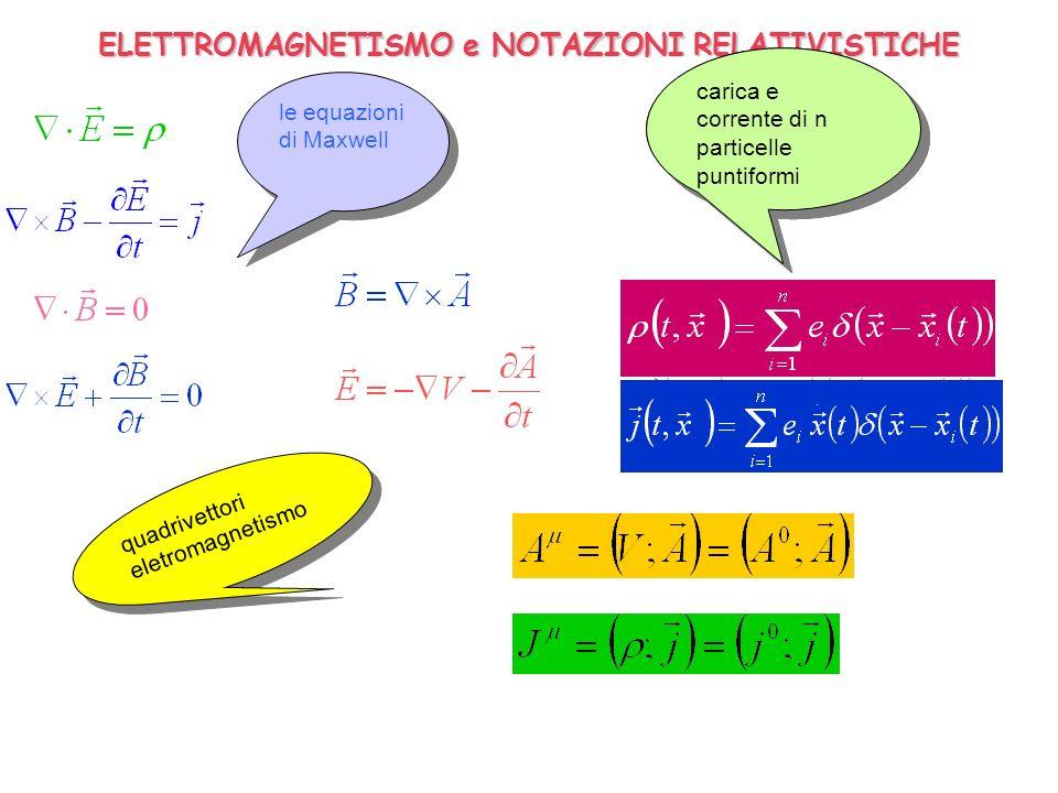 ELETTROMAGNETISMO e NOTAZIONI RELATIVISTICHE le equazioni di Maxwell le equazioni di Maxwell carica e corrente di una particella puntiforme carica e c