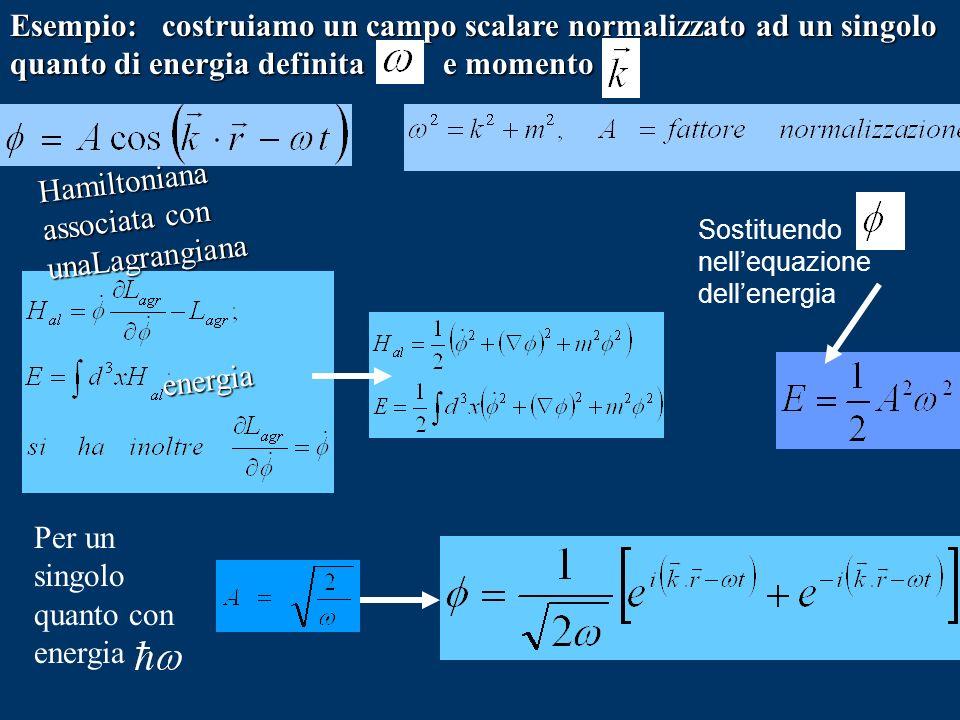 Hamiltoniana associata con unaLagrangiana energia Esempio: costruiamo un campo scalare normalizzato ad un singolo quanto di energia definita e momento
