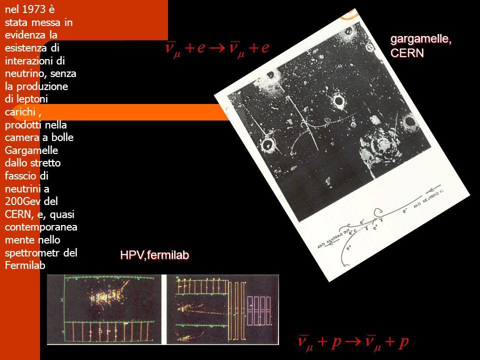 nel 1973 è stata messa in evidenza la esistenza di interazioni di neutrino, senza la produzione di leptoni carichi, prodotti nella camera a bolle Garg
