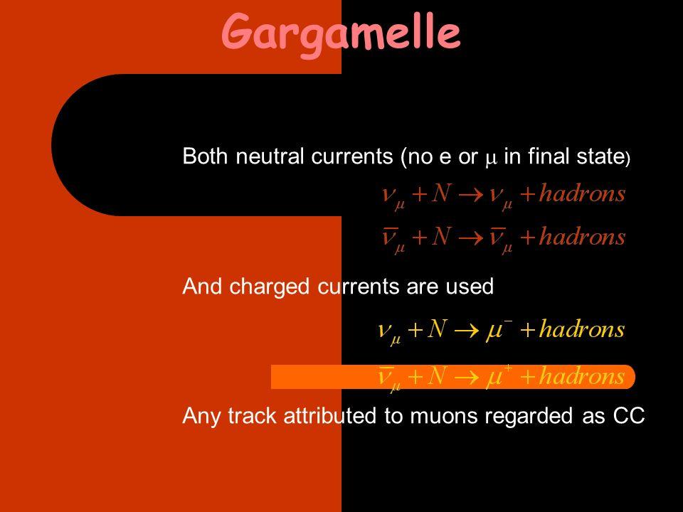 esempi di eventi di corrente neutra 1971 Weinberg : ¼<rapporto correnti cariche/correnti neutre<1/8