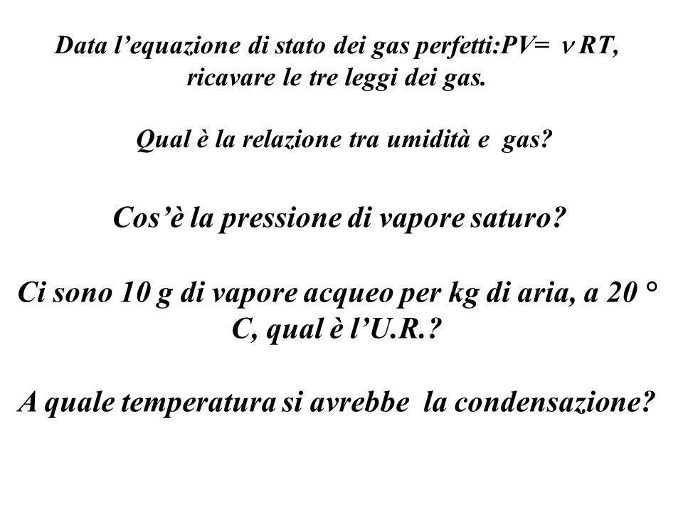 Data lequazione di stato dei gas perfetti:PV= RT, ricavare le tre leggi dei gas. Qual è la relazione tra umidità e gas? Cosè la pressione di vapore sa