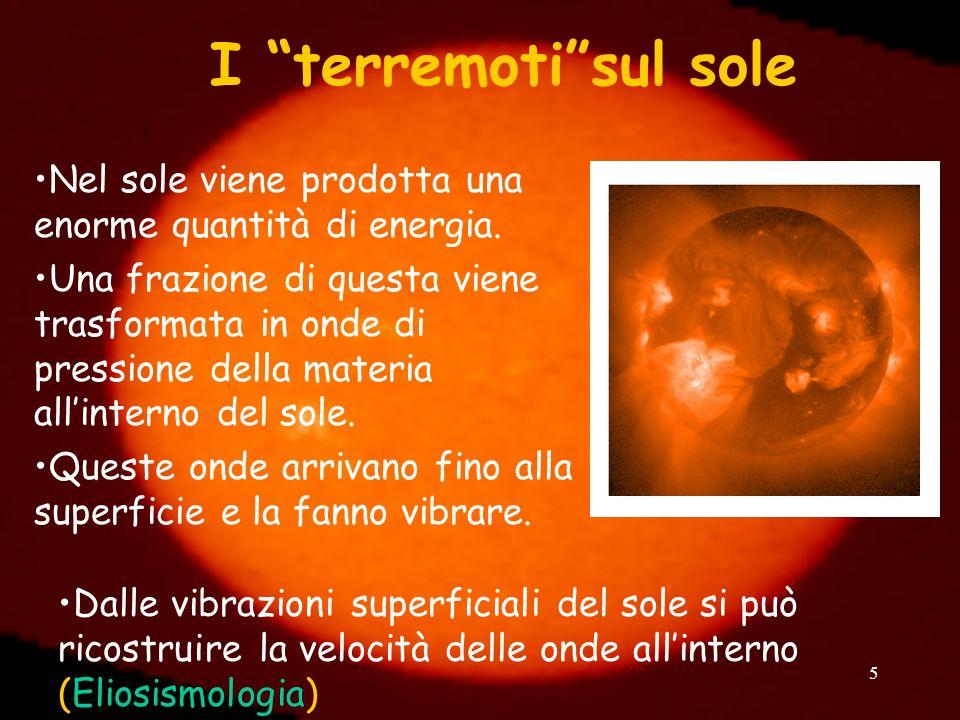 5 I terremotisul sole Nel sole viene prodotta una enorme quantità di energia. Una frazione di questa viene trasformata in onde di pressione della mate