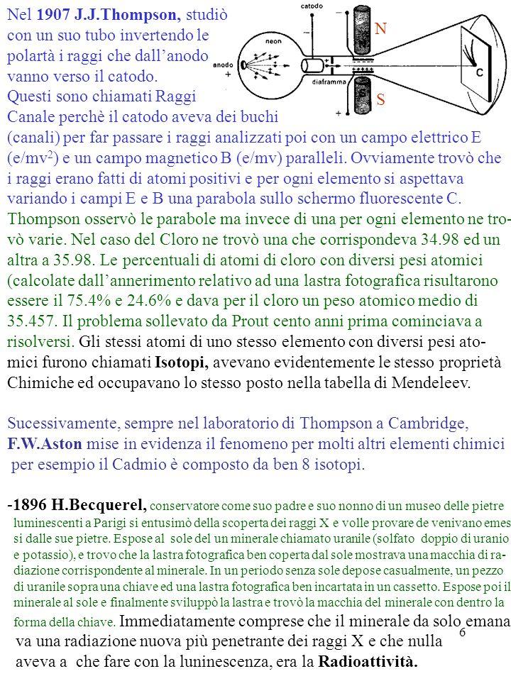 6 S N Nel 1907 J.J.Thompson, studiò con un suo tubo invertendo le polartà i raggi che dallanodo vanno verso il catodo. Questi sono chiamati Raggi Cana