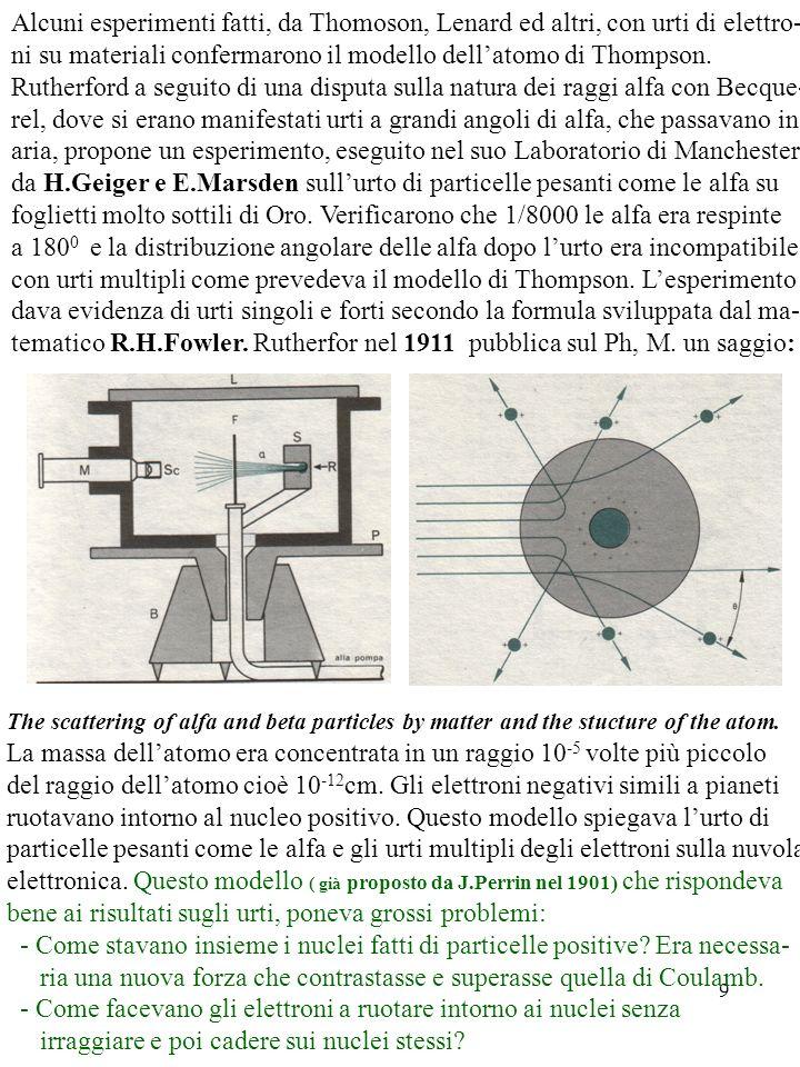 9 Alcuni esperimenti fatti, da Thomoson, Lenard ed altri, con urti di elettro- ni su materiali confermarono il modello dellatomo di Thompson. Rutherfo