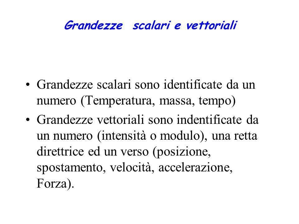 Grandezze scalari e vettoriali Grandezze scalari sono identificate da un numero (Temperatura, massa, tempo) Grandezze vettoriali sono indentificate da