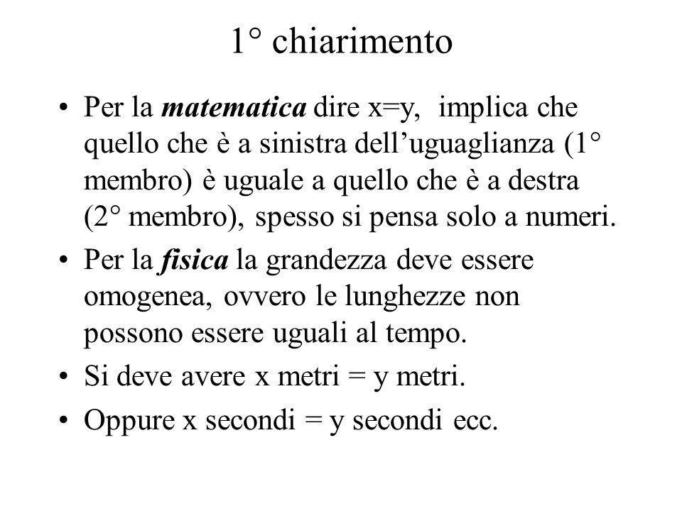 1° chiarimento Per la matematica dire x=y, implica che quello che è a sinistra delluguaglianza (1° membro) è uguale a quello che è a destra (2° membro