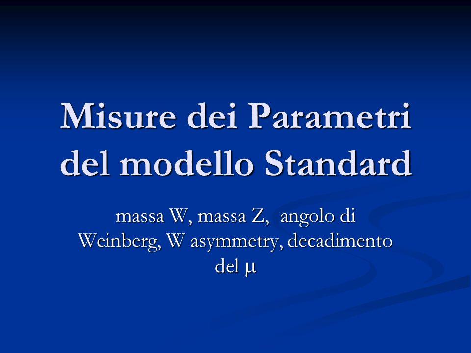 Misure dei Parametri del modello Standard massa W, massa Z, angolo di Weinberg, W asymmetry, decadimento del massa W, massa Z, angolo di Weinberg, W asymmetry, decadimento del
