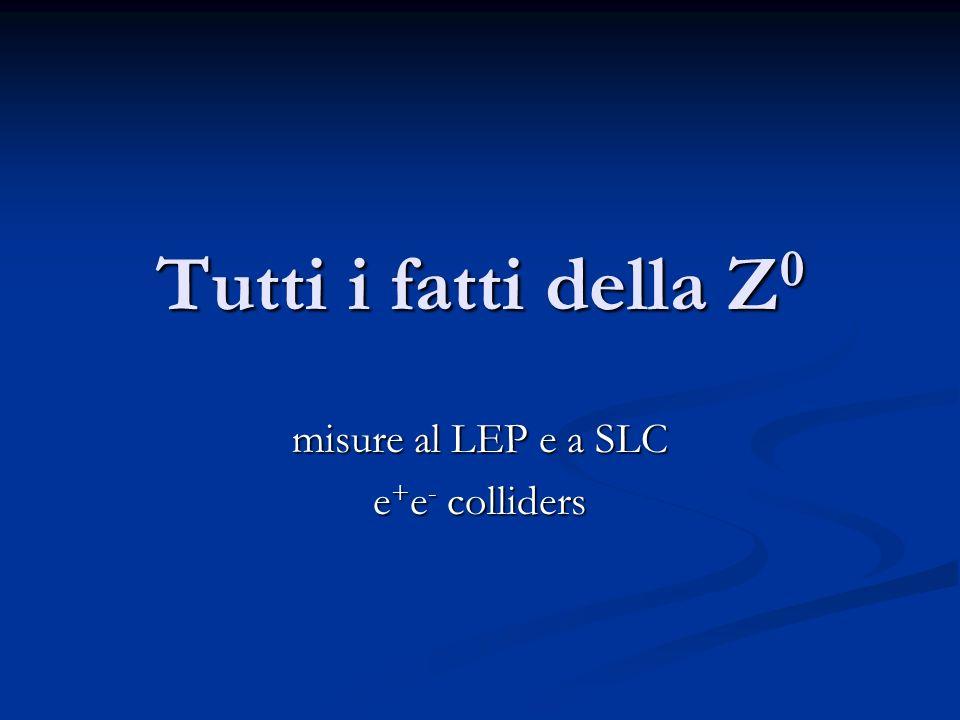 Tutti i fatti della Z 0 misure al LEP e a SLC e + e - colliders