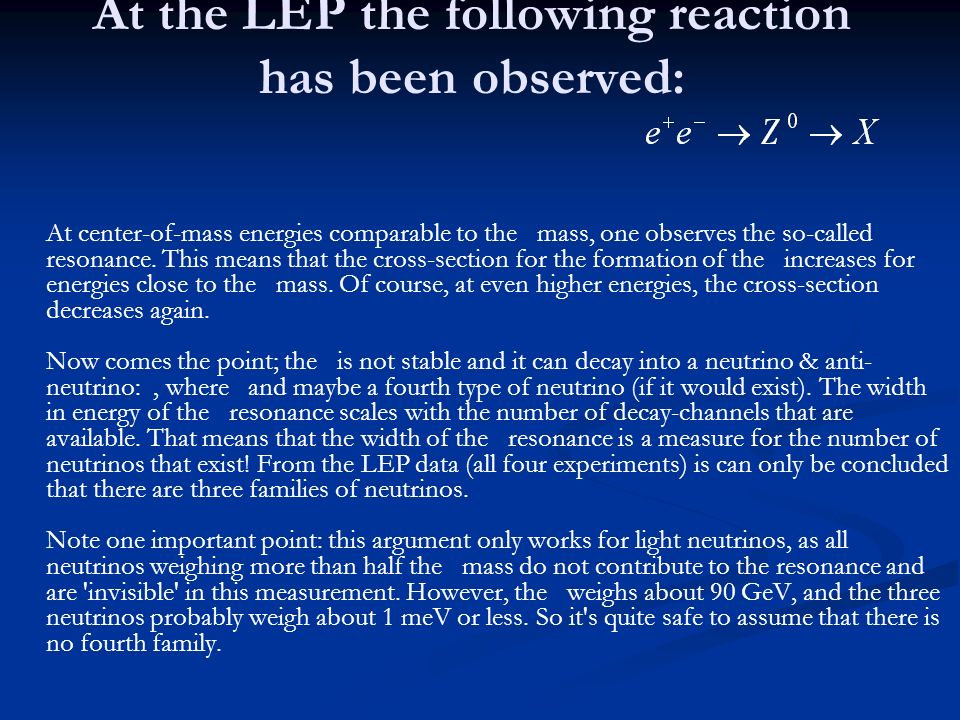 At the LEP the following reaction has been observed: At center-of-mass energies comparable to the mass, one observes the so-called resonance. This mea