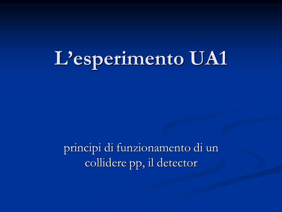 Lesperimento UA1 principi di funzionamento di un collidere pp, il detector
