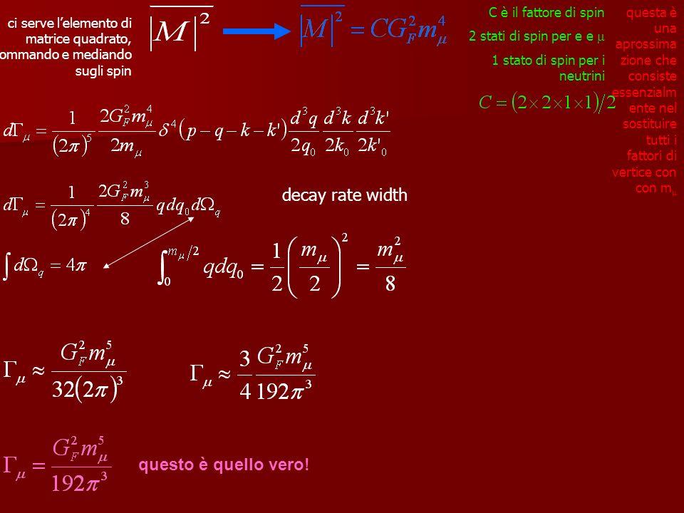 ci serve lelemento di matrice quadrato, sommando e mediando sugli spin questa è una aprossima zione che consiste essenzialm ente nel sostituire tutti i fattori di vertice con con m C è il fattore di spin 2 stati di spin per e e 1 stato di spin per i neutrini decay rate width questo è quello vero!