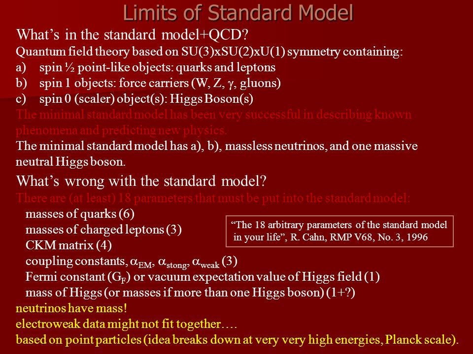 Limits of Standard Model Whats in the standard model+QCD? Quantum field theory based on SU(3)xSU(2)xU(1) symmetry containing: a)spin ½ point-like obje