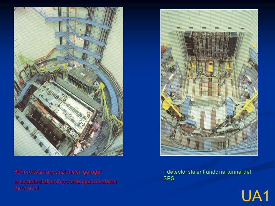 UA1 60m sottoterra, posizione di garage le scatole di alluminio contengono rivelatori per muoni il detector sta entrando nel tunnel del SPS