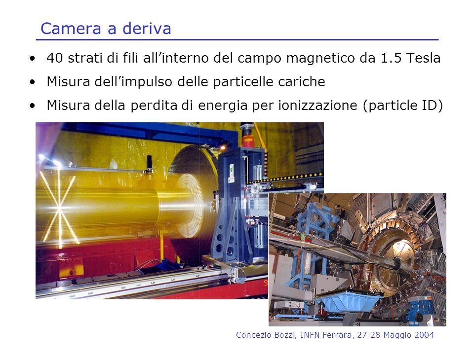 Concezio Bozzi, INFN Ferrara, 27-28 Maggio 2004 Camera a deriva 40 strati di fili allinterno del campo magnetico da 1.5 Tesla Misura dellimpulso delle