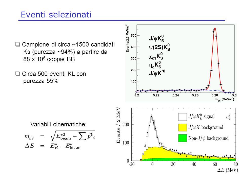 Concezio Bozzi, INFN Ferrara, 27-28 Maggio 2004 Eventi selezionati Campione di circa ~1500 candidati Ks (purezza ~94%) a partire da 88 x 10 6 coppie B