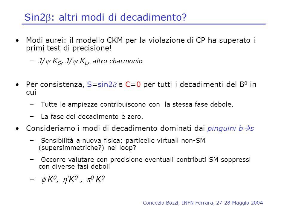 Concezio Bozzi, INFN Ferrara, 27-28 Maggio 2004 Sin2: altri modi di decadimento? Modi aurei: il modello CKM per la violazione di CP ha superato i prim