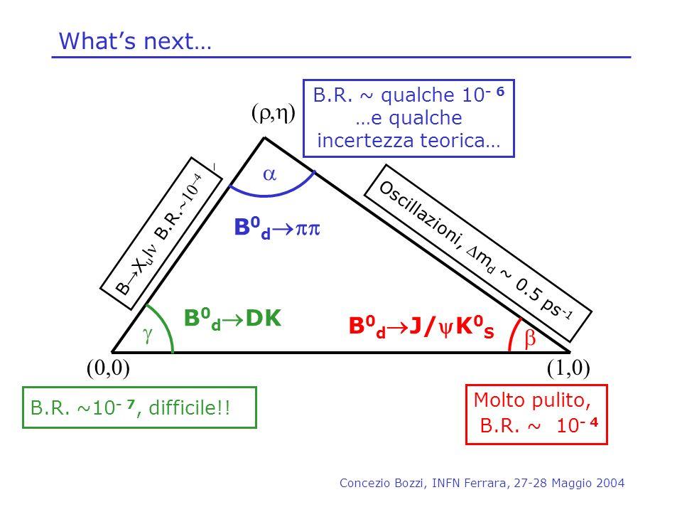 Concezio Bozzi, INFN Ferrara, 27-28 Maggio 2004 Whats next… ( ) (0,0)(1,0) B.R. ~10 - 7, difficile!! B.R. ~ qualche 10 - 6 …e qualche incertezza teori