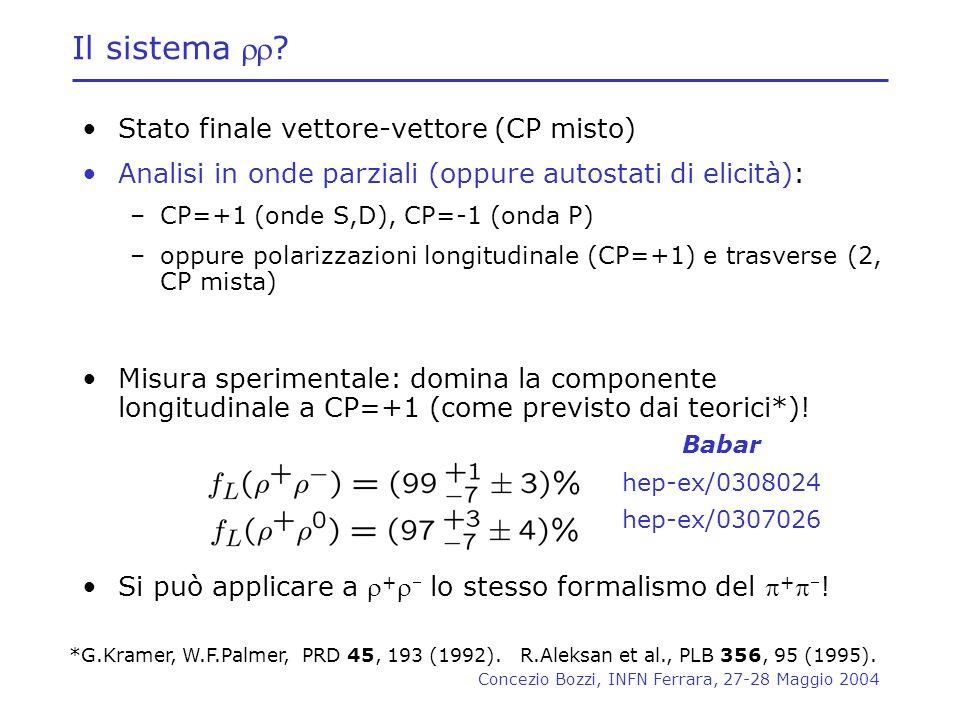 Concezio Bozzi, INFN Ferrara, 27-28 Maggio 2004 Il sistema ? Stato finale vettore-vettore (CP misto) Analisi in onde parziali (oppure autostati di eli