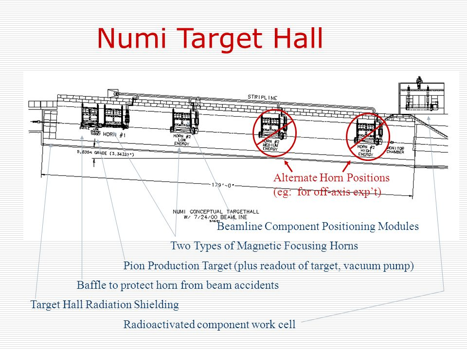 Numi Target Hall Beamline Component Positioning Modules Two Types of Magnetic Focusing Horns Pion Production Target (plus readout of target, vacuum pu
