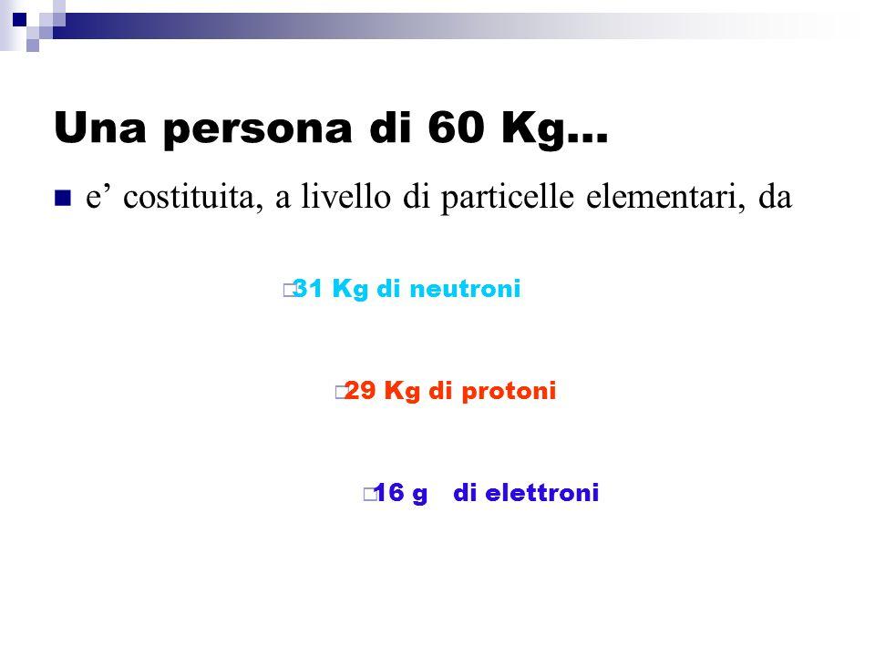 Una persona di 60 Kg… e costituita, a livello di particelle elementari, da 31 Kg di neutroni 29 Kg di protoni 16 g di elettroni