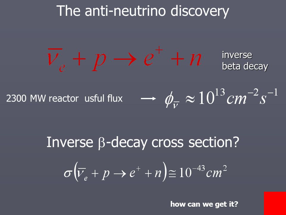 The anti-neutrino discoveryinverse beta decay 2300 MW reactor usful flux Inverse -decay cross section.
