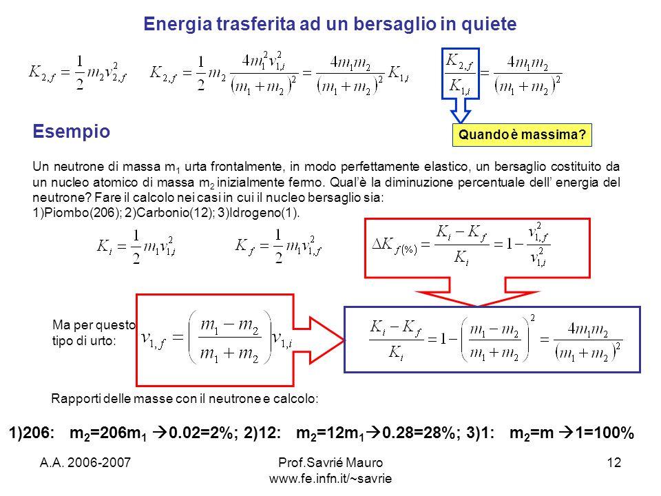 A.A. 2006-2007Prof.Savrié Mauro www.fe.infn.it/~savrie 12 Energia trasferita ad un bersaglio in quiete Quando è massima? Esempio Un neutrone di massa