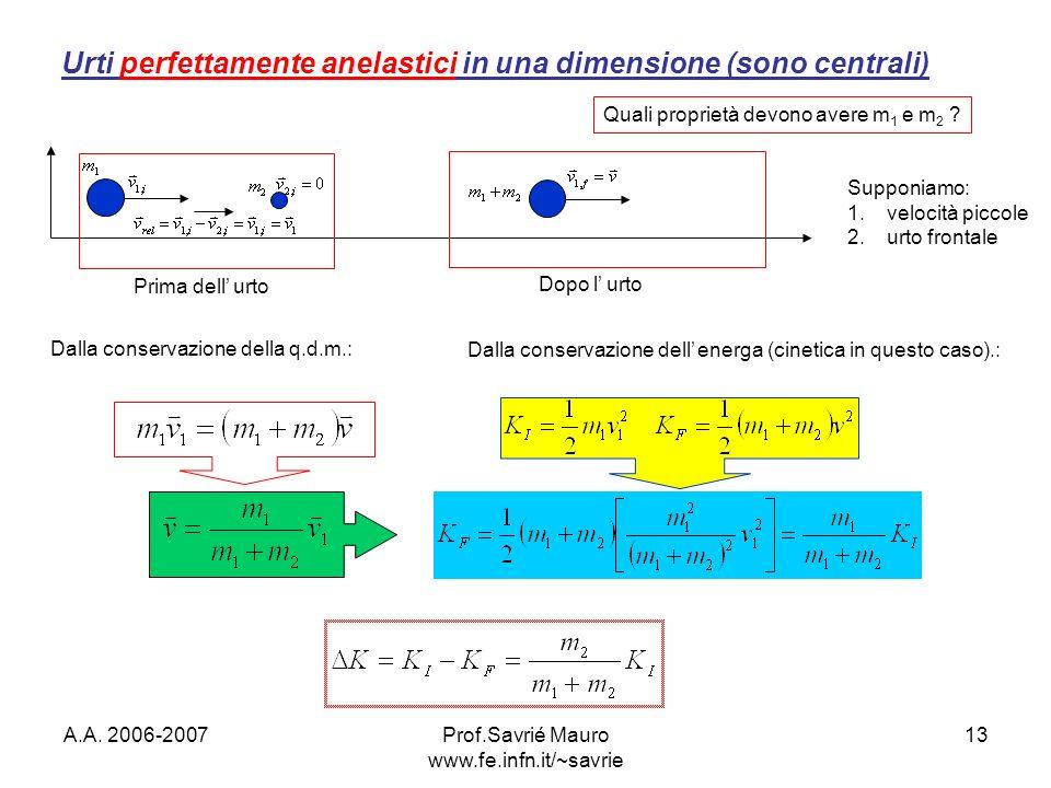 A.A. 2006-2007Prof.Savrié Mauro www.fe.infn.it/~savrie 13 Urti perfettamente anelastici in una dimensione (sono centrali) Prima dell urto Dopo l urto